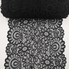Buy 22cm Black White Elastic Lace Fabric French Hollow Underwear DIY Crafts Sewing Suppies Decoration Accessories For Garments 1Yard directly from merchant!