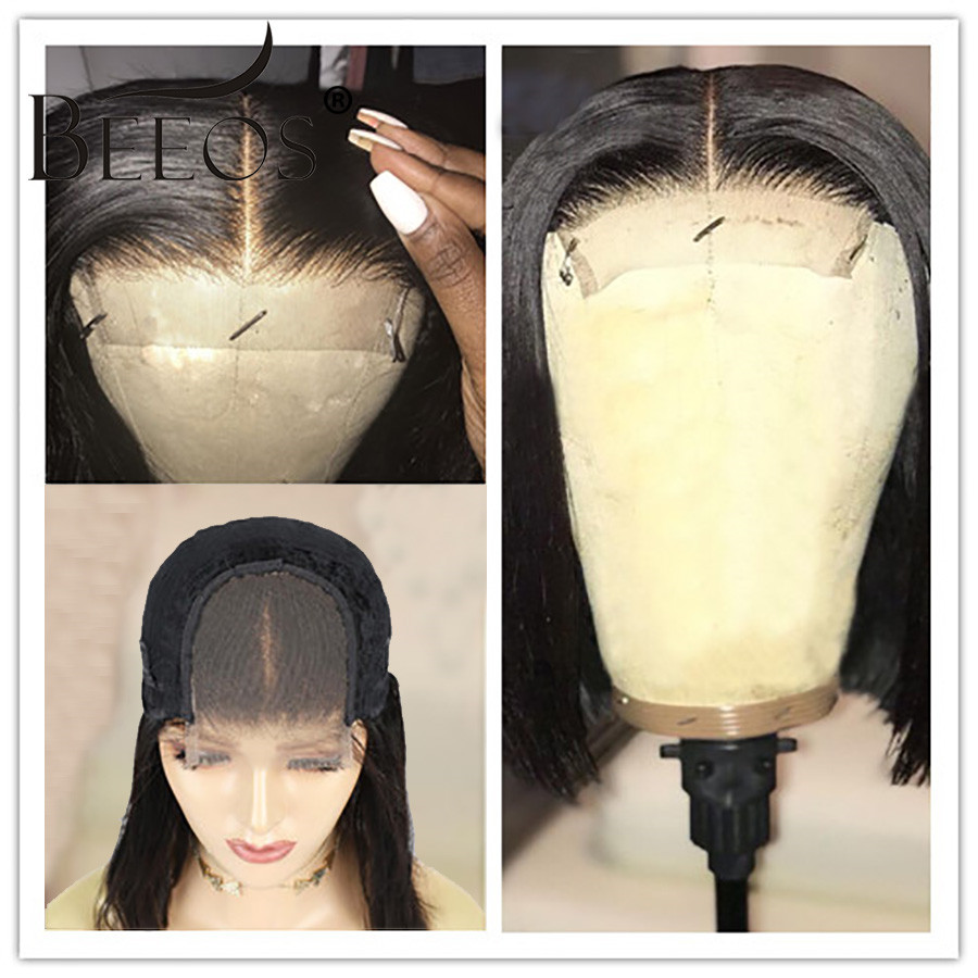 Closure Short Straight Bob Wigs 150% Middle Part Lace Wig Brazilian Human Hair Wigs 4×4 Lace Wig Remy Pre Plucked