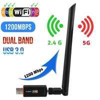 Adaptador sem fio usb wifi driver livre 1200 mbps lan usb ethernet 2.4g 5g banda dupla wi-fi placa de rede wi-fi dongle 802.11n/g/a/ac