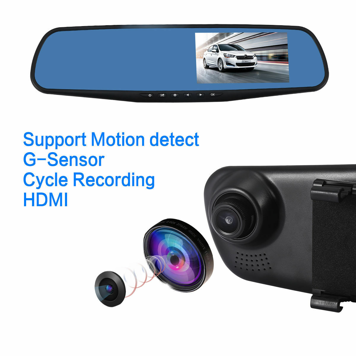 USB 2.0 Car DVR Built-in Dash Cam Replacement Night Vision Recorder Rear View Mirror Parts Accessories
