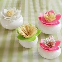 Creative Lotus Cotton Swab Box Bud Holder Case Home Decorate Toothpicks Storage Organizer 8cm