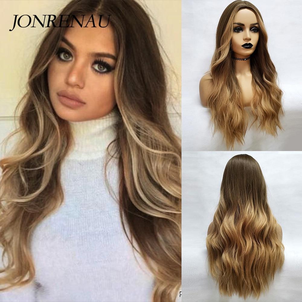 Jonrenau onda natural sintética longa marrom a loira dourada ombre cabelo peruca uso diário perucas para branco/preto