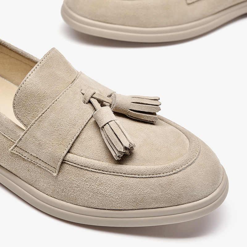 Chaussures Femme Mocassins en cuir taupe à Enfiler Talon Bas Chaussures Taille UK 3-7 E wide fit