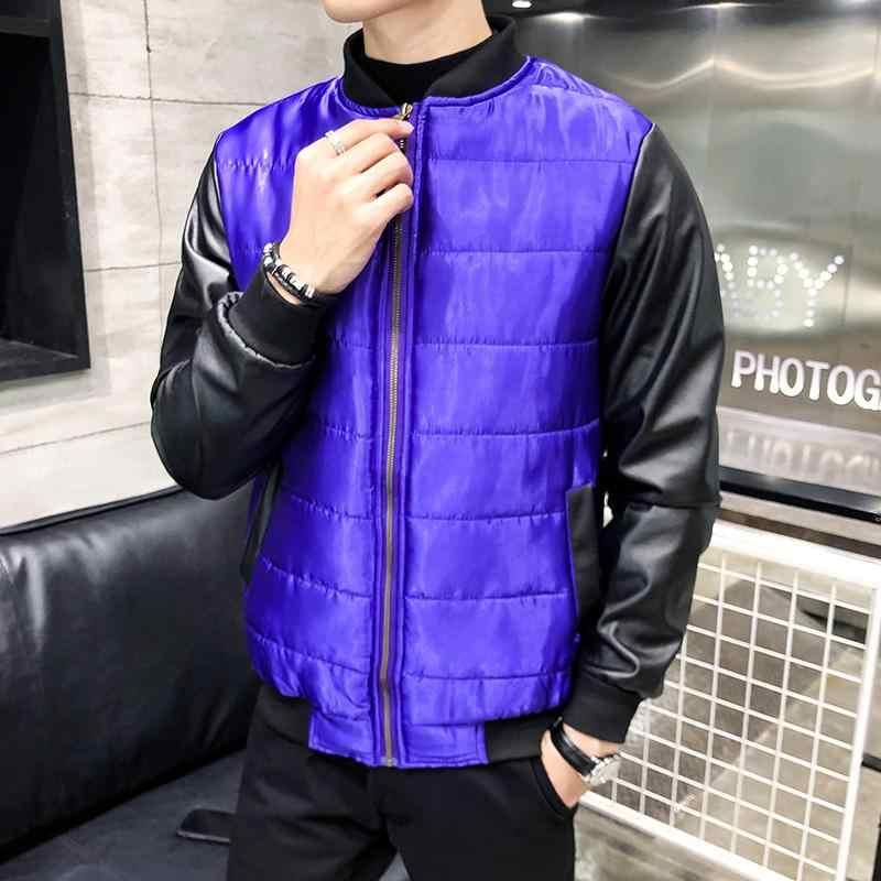 新しい冬の光沢のある生地綿ジャケットパーカー男性秋冬暖かい生き抜くブランドスリムメンズ皮質長袖コートカジュアル