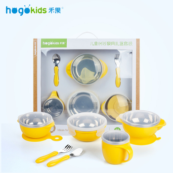 Hogokids Dish Set of Children's Dishes Stainless Steel Bowl Children's Tableware for Feeding Baby Feed Bowl Dinnerware 6 of set