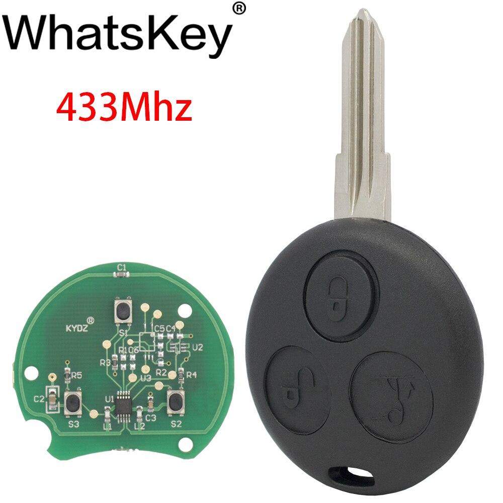 WhatsKey 3 düğme 433Mhz uzaktan araba anahtarı için Benz için Mercedes Smart Fortwo 450 Forfour şehir Roadster Cabrio Coupe kesilmemiş bıçak