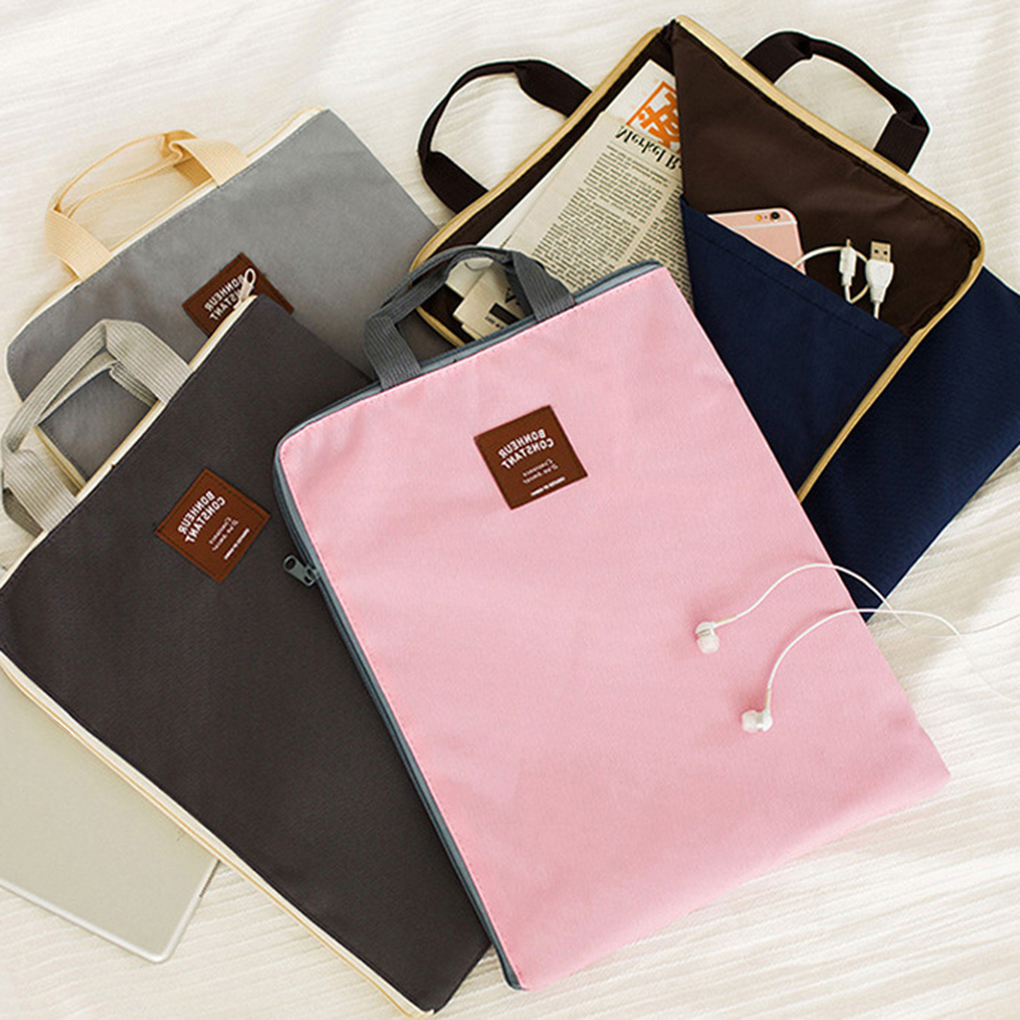 Paper File Storage Bag Zipper Design Book Tablet Phone Storing Handbag Waterproof Oxford Cloth