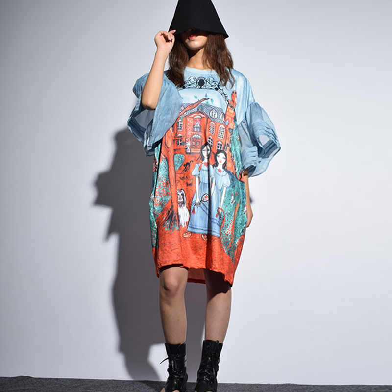 Dreamscape Printed Oversized Dress