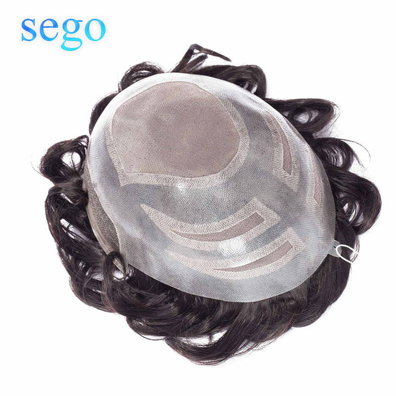"""SEGO 8""""x10"""" Lace&Mono&PU Base Men Toupee 100% Real Human  Hair Replacement Systems Wig Poly Around Non-remy Hair Density130%"""