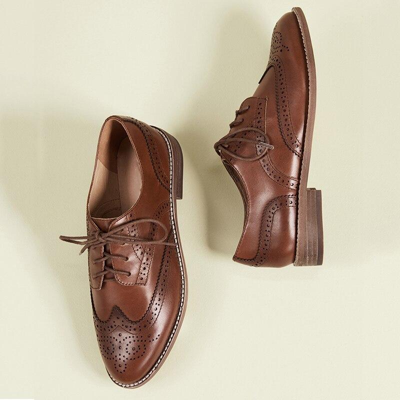 Shofoo marrom escuro oco para fora rendas até oxfords mulher plana dedo do pé redondo sapatos femininos tamanho grande 13 15 senhoras outono moda escritório - 3