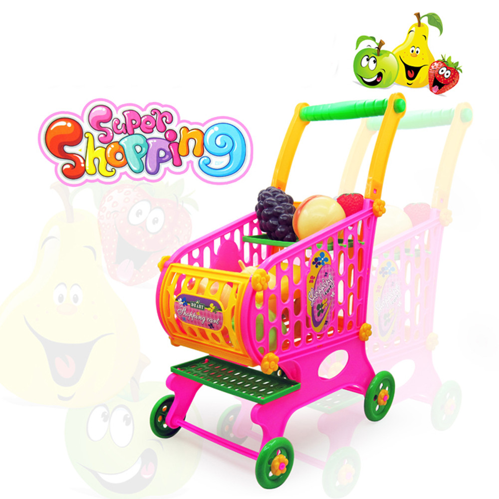 New Kids Toys Simulation Shopping Cart Vegetables Fruits Food Pretend Play