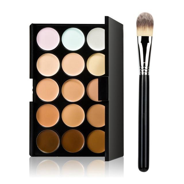 Newly 15 Color Fashion Women Professional Makeup Cosmetic Contour Concealer Palette Make Up+Foundation Brush CLA88 Uncategorized