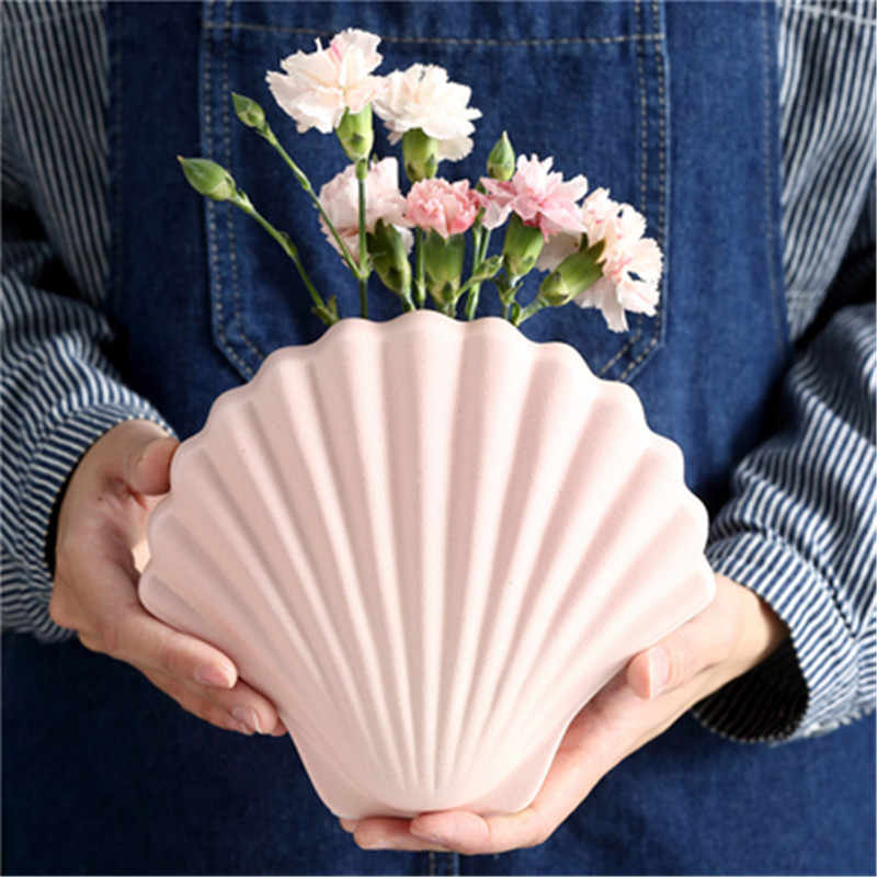 Nordic symulacji muszla ceramika wazon kreatywne ubrania sklepowy regał wystawowy pulpit zorganizować kwiaty doniczka X2894