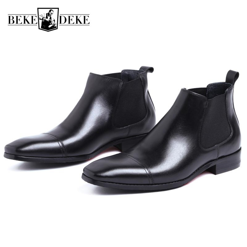 Winter Men Office Business Dress Shoes Luxury Genuine Leather Chelsea Boots Male Slip On Wedding Party Shoes Formal Ankle Boots