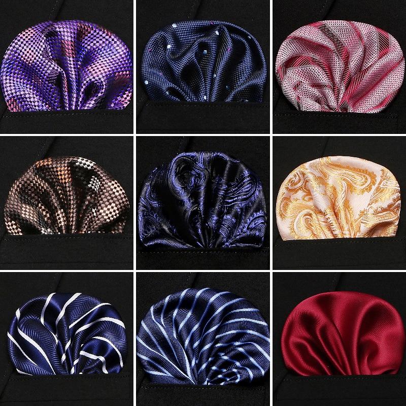 2020 New Fashion Classic Men's 100% Silk Handkerchief Paisley Floral Jacquard Men Pocket Square Towel For Business Wedding Party