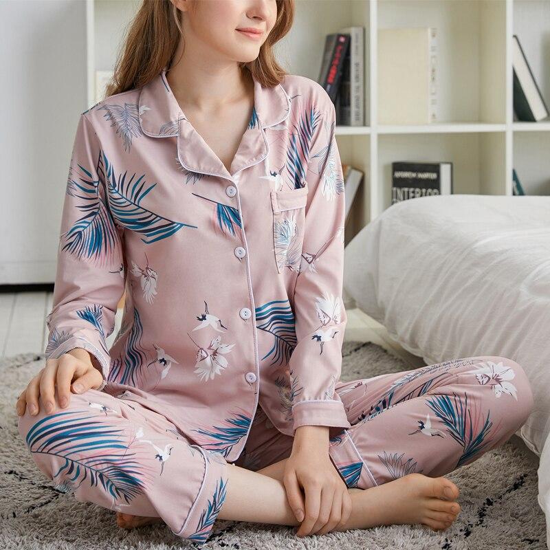 FallSweet Pajamas For Women Print Floral Leaf Pyjama Set Pink Full-Sleeve Ladies Sleepwear
