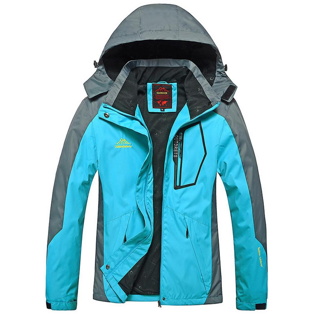 Women Casual Patchwork Mountain Waterproof Ski Regular All Seasons Jacket Pocket Hooded Outdoor Windproof Coat