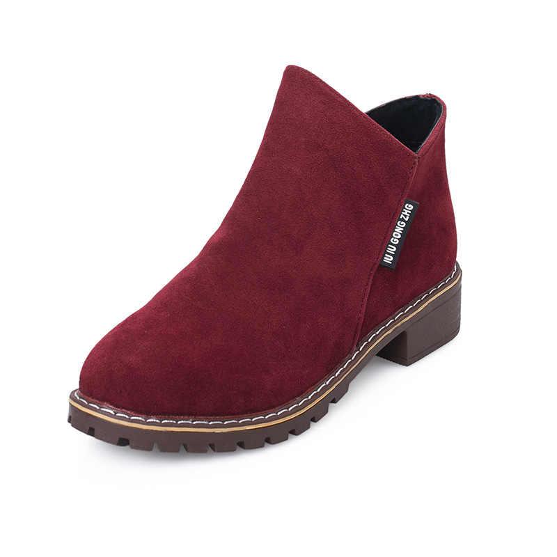 LZJ 2019 חדש נשים קרסול מגפי חורף שלג נשי נשים נעליים יומיומיות עבה העקב זמש חם פרווה קטיפה נשים נעלי נשים נעליים