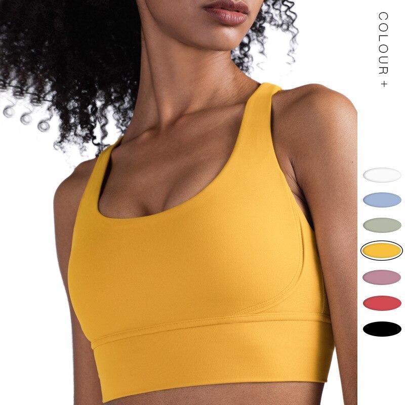 2020 New Lulu Shockproof Running Yoga Sports Bra Women's Naked Skin Gathered Beauty Back Fitness Vest Seamless Sports Bra