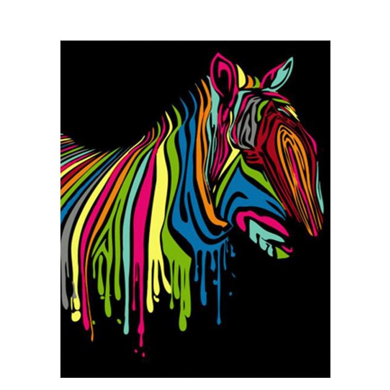 Картины по номеру Зебра для взрослых холст ручной работы краска