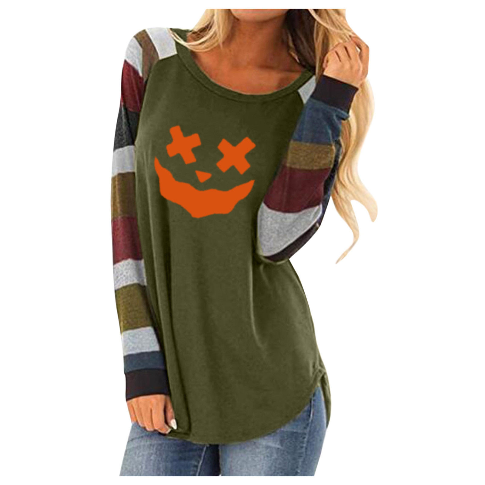 Pumpkin Print Halloween Women's T-shirt Fashion Long-sleeved Western Style Femme Top Clothes Funny Cotton O Neck Girl Clothes