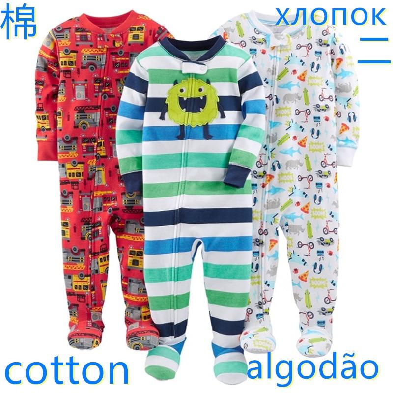 Warm summer cotton jumpsuit romper thread tight bodysuit pajamas boys and girls baby zipper bag feet robe 1