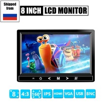 цена на 4:3 8 inch TFT LCD Color Video CCTV Mini Monitor HDMI/VGA/BNC/AV Input for Security System Tester Stand Rotating Screen
