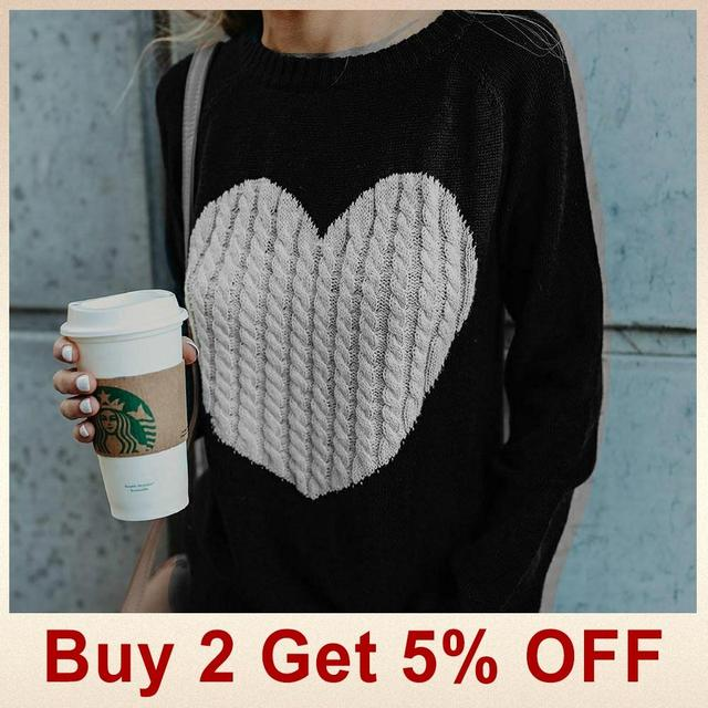 Casual Autumn Winter Pullover Long Sleeve O Neck Heart Knitted Women Sweaters Slim Pull Femme Jumpers 3XL Size Loose Sweater 2