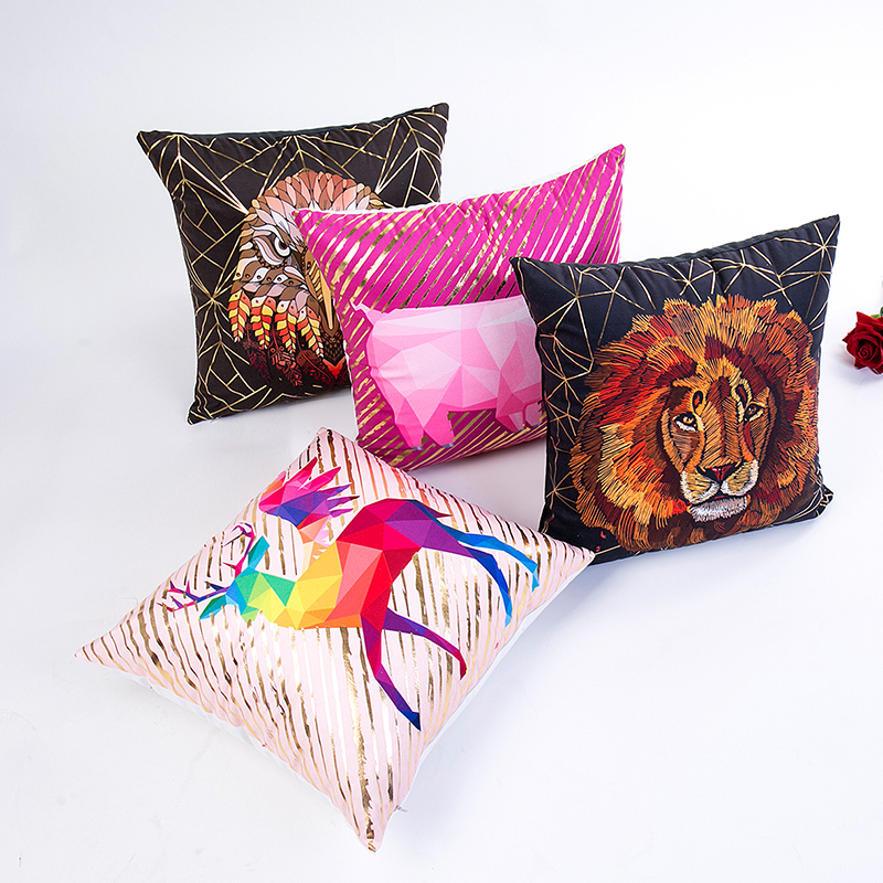 abstractive animal lion eagle pig pattern 45 45cm cushion cover no inner hot stamping colorful cushion case for home dec X38 in Cushion Cover from Home Garden