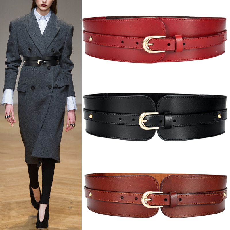 H3288 Women Wide Elastic Waist Belt Ladies Cowhide Fashion Simple Solid Color Waist Seal Genuine Leather Waistband Accessories