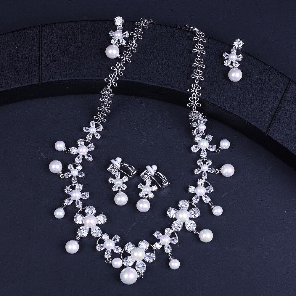 Perle fleur mode mariage dames ensembles de bijoux pour les femmes Micro Pave Zircon boucles d'oreilles colliers ensemble bijoux