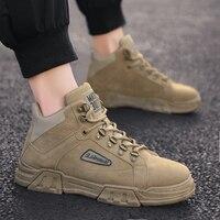 Sneakers homens Respirável lazer sapatos de alta-top sapatos de skate wear-resistant não-deslizamento sapatos de desporto