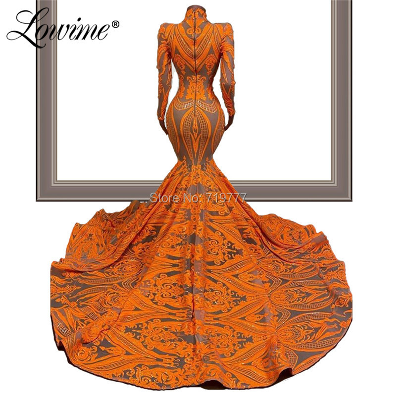 Image 2 - Robe Soiree Glitter Slim Mermaid Evening Dresses 2020 Couture Caftan Mariage Long Sleeves High Neck Arabic Dubai Party Gowns NewEvening Dresses   -