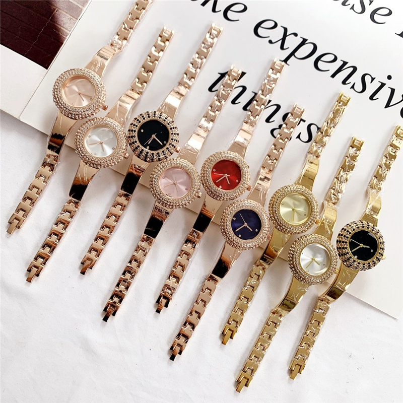 Hot Brand S High Quality Full Bling Bling Gems Micro Quartz Watch Gold Rose Silver Stainless Steel Waterproof Wrist Watch