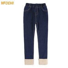 цена VFOCHI 2019 New Girls Jeans Winter Thick Velvet Pants Stretch Waist Kids Pants Warm Children Clothes Baby Girls Thicken Pants онлайн в 2017 году