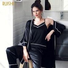 Autumn New Silk Pyjamas Women Sexy Sleepwear Yoga Set Clothing Comfortable 3 piece M-XXL Size стоимость