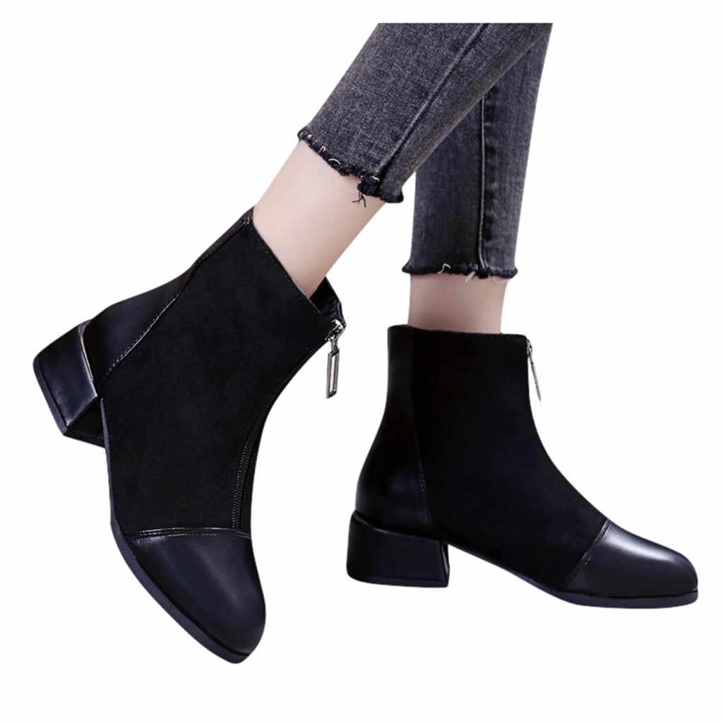Ayakkabı kadın bayanlar ayak bileği patik yuvarlak ayak katı çizmeler rahat açık ayakkabı Botas Mujer Chaussures Femme Сапоги Женские 40