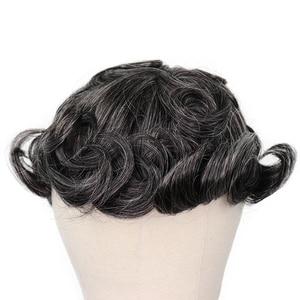 Image 5 - YY פאות 1B טבעי שחור מעורב אפור שיער טבעי פאה גברים מונו נטו & pu רמי שיער החלפת מערכת גברים של פאה 6 אינץ 8x10