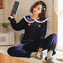 Pajamas Women Sets 2019 New Autumn Coral Velvet Sweet and Cute Warm Flannel Womens Sleep & Lounge