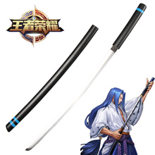 Real samurai katana swrods Carbon Steel Blade Black Sword For Game Arena Of Valor Cosplay Props Full-wooden Sheath Decorative