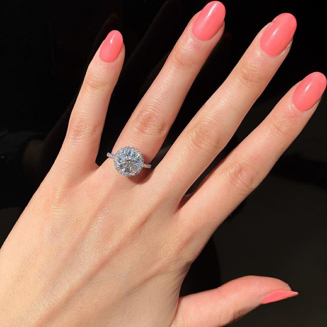 Originální skutečné pevné 925 šterlinků stříbro AAA Halo prsteny pro ženy snubní prsteny snubní prsteny R4323S