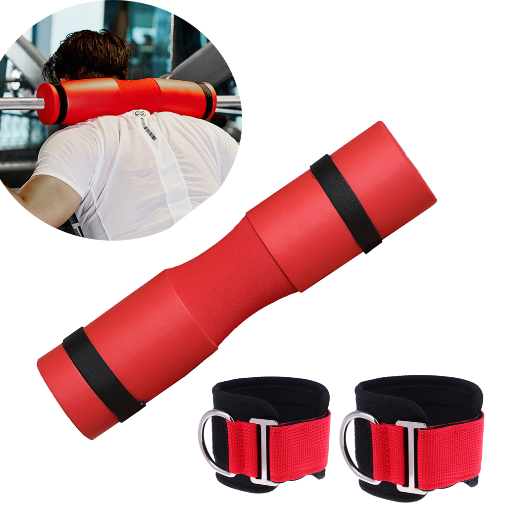 Barbell Pad Olympic Standard Weight Bars Foam Grip Neck Protector Ankle Straps