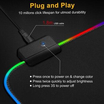 Alfombrilla de ratón para Gaming, alfombrilla grande RGB para ratón, alfombrilla XXL para ratón, alfombrilla grande para ratón, alfombrilla para PC, escritorio, alfombrilla para jugar con retroiluminación 3