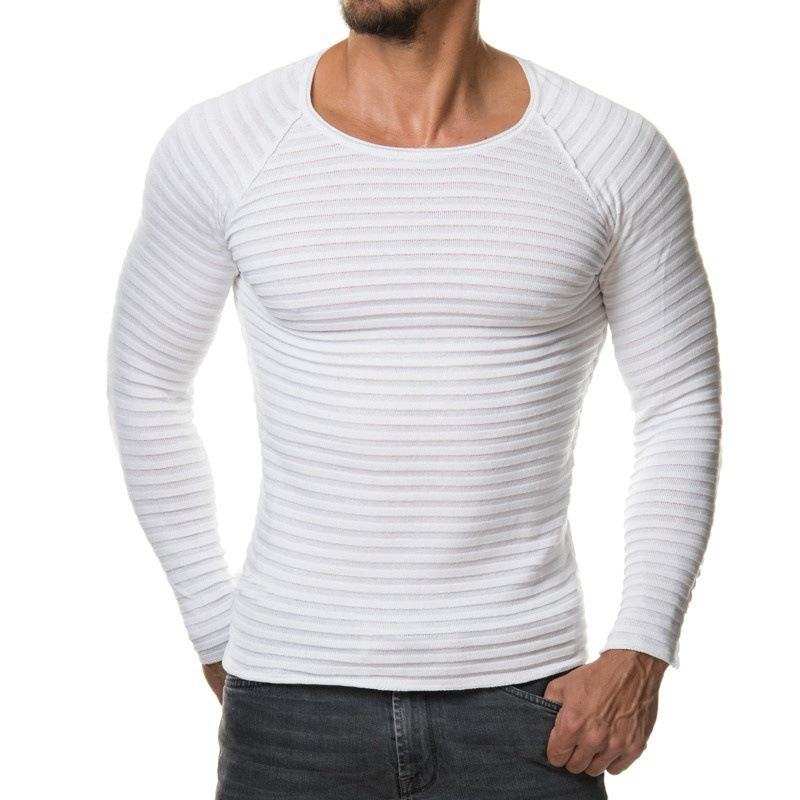 20187 Mens Casual Slim Fit Crew Neck Shirt Jumper Pullover Sweater Muscle Sweatershirt Tops Size M-XXXL
