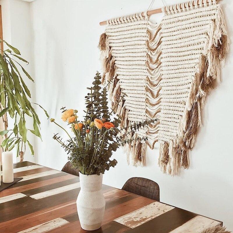 Tenture murale en macramé tapisserie d'art tissé Boho Style sauvage décor décorations de noël foyer pour la maison - 4