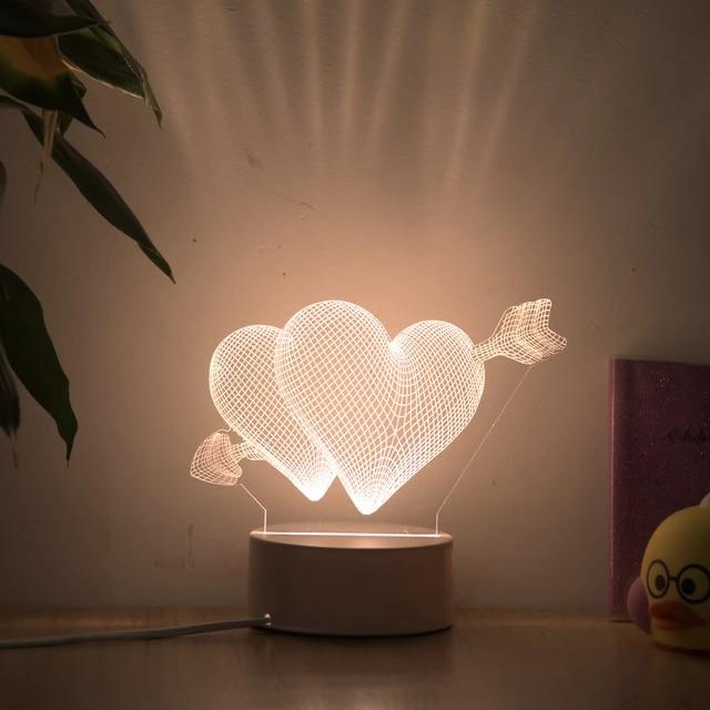 3D лампы в виде сердца