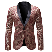 PUIMENTIUA 2019 New Mens Autumn Pirnt Casual Blazers England Style A Buckle Suits Men Blazer Slim Fit Embroidery V-Neck Blazer