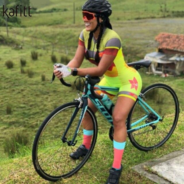 Kafitt Pro equipe triathlon terno das mulheres Macacão de manga curta Camisa de ciclismo Skinsuit Maillot Vestuário ciclismo ciclismo setgel 5