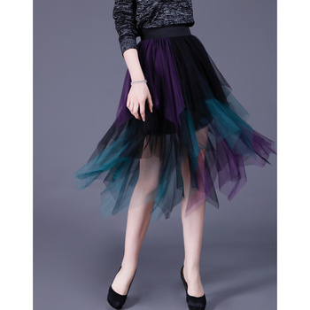 Faldas de tutú de malla con dobladillo Irregular Falda larga de tul de cintura alta elástica a la moda faldas elegantes faldas para mujer falda de fiesta