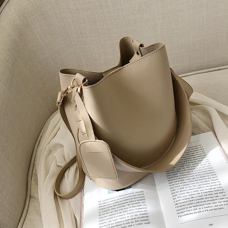 2147.0¥ 42% OFF casual wide strap buckets bag designer women shoulder bags luxury pu crossbody bag ...